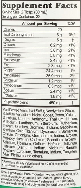 Liquid Nutrients Minerals Complex Concord Grape 70 + Plant Derived Miinerals 32 Fl oz 946 Ml