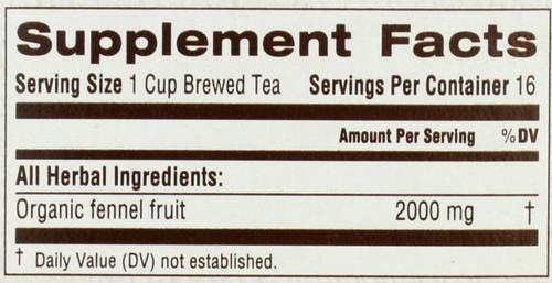 Bagged Tea Fennel Organic 16 Tea Bag 1.13oz