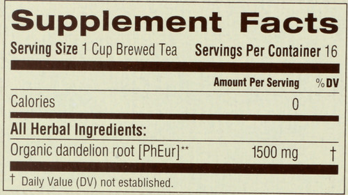 Bagged Tea Roasted Dandelion Root Herbal Supplement 16 Tea Bag 0.85oz