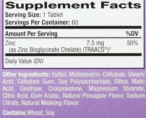 Tablets Zinc Natural Pineapple Flavor 60 Chewable Tablets