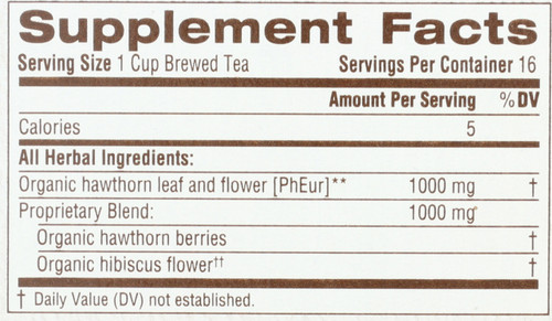 Herbal Tea Hawthorn With Hibiscus Organic 16 Tea Bag 1.13oz
