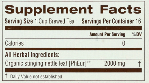 Bagged Tea Nettle Leaf Caffeine Free Caffeine Free Herbal Organic 16 Tea Bag 1.13oz