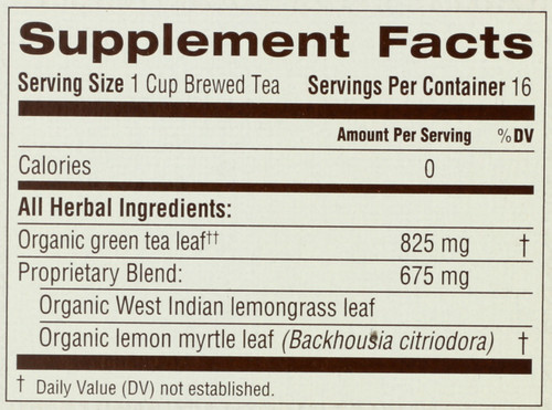 Bagged Tea Green Tea Lemongrass Herbal Supplement 16 Tea Bag 0.85oz