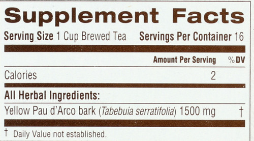 Bagged Tea Pau D'Arco 16 Tea Bag 0.85oz