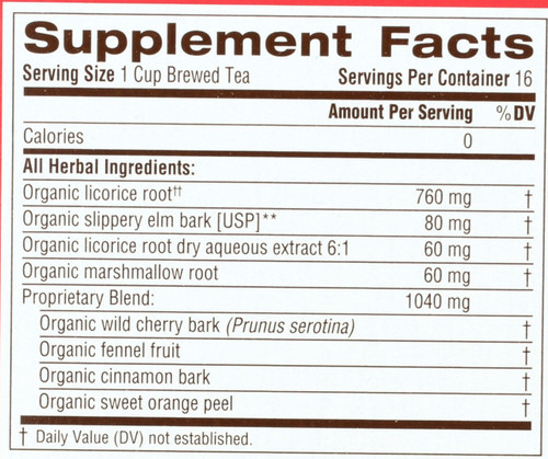 Bagged Tea Throat Coat® 16 Tea Bag 1.13oz