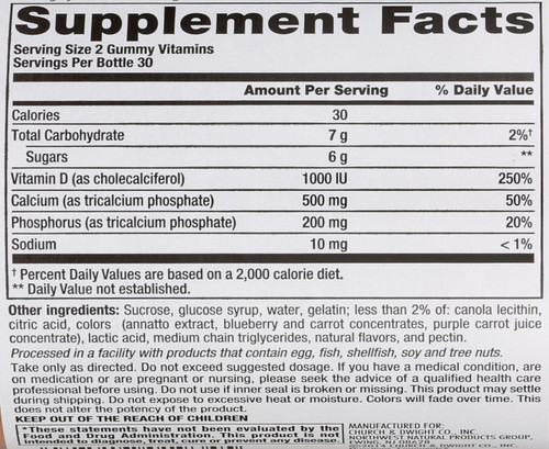 Vitamins Calcium + D3 500 Mg/1000 Iu 60 Gummies