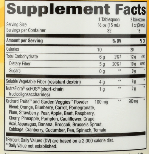 Alive!®oz Fiber Citrus Digestion / Tropical Citrus Flavored Vegetarian; Gluten Free, Five Grams Of Fiber Made Easy And Simple; Just Pour And Drink, No Mixing, No Hassle, No Mess, Small, Potent Dose Of Soluble, Vegetable Fiber. 32 Servings 16 Fl oz