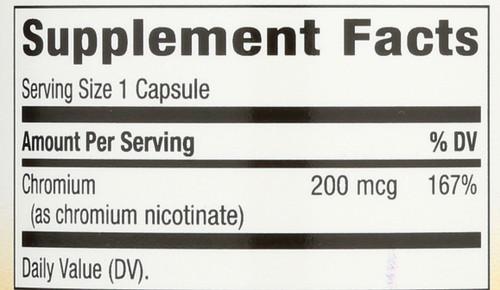 Gtf Chromium 200 Mcg Blood Sugar Chromium Picolinate Is An Essential Part Of The Gtf (Glucose Tolerance Factor) Molecule 100 Vegetarian Capsules