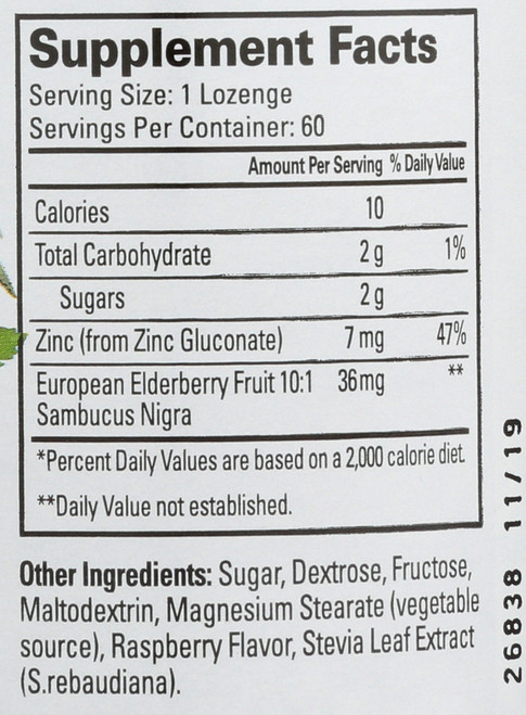 Thera Zinc Elderberry Lozenges Natural Raspberry Flavor Immune Boosting Formula 60 Lozenges