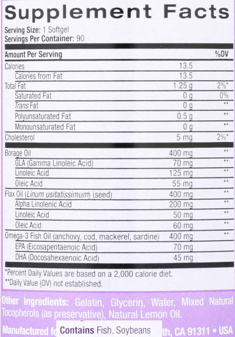 Omega-3-6-9 Complex Lemon Flavor Fish, Flax And Borage Oil 90 Softgels