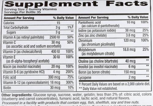 Gummy Vitamins Multvites Men's Fruit Flavor 70 Each