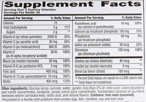 Gummy Vitamins Multivites Women's Berry 70 Each