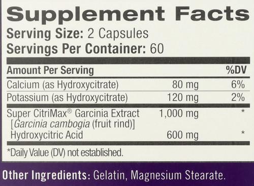 Garcinia Cambogia, Super Citrimax 1,000Mg 120 Capsules