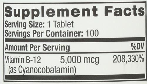 Vitamin B-12 5000 Mcg Fast Dissolve 100 Tablets