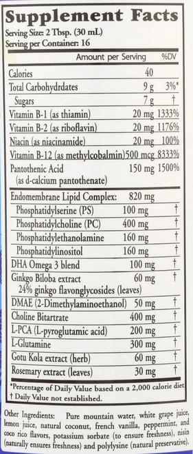 Liquid Nutrients Neuro Nectar Advanced Brain Support Formula Whole Food Complex Vegetarian, Gluten Free 16 Fl oz 473 Ml