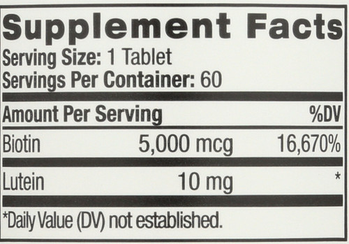 Biotin Plus With Lutein 60 Tablets