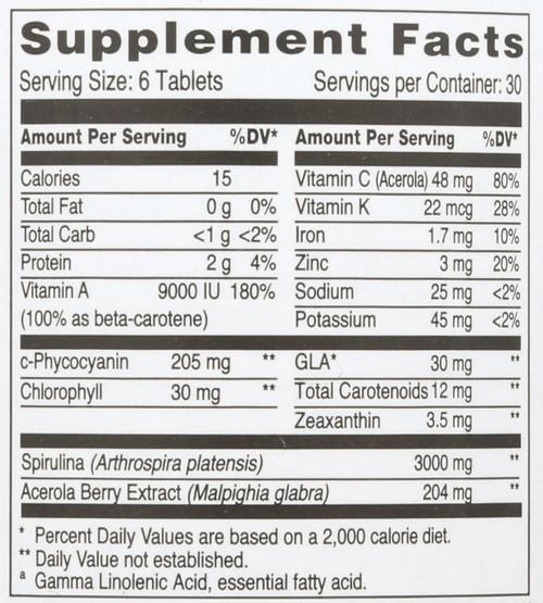 Spirulina Gold Plus® 500 Mg 180 Tablets