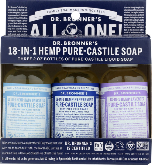 Liquid Castile Soap Gift Set Peppermint, Lavender, And Baby-Unscented