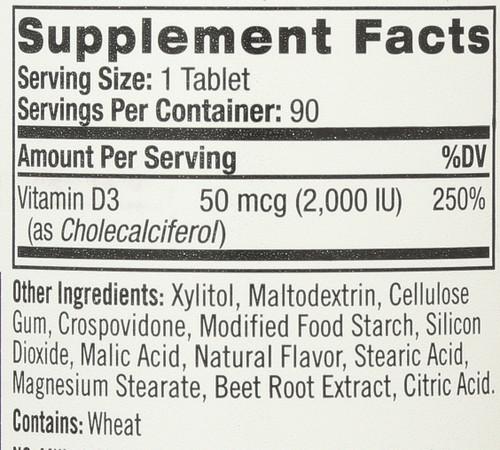 Vitamin D3 2,000 Iu Fast Dissolve 90 Tablets