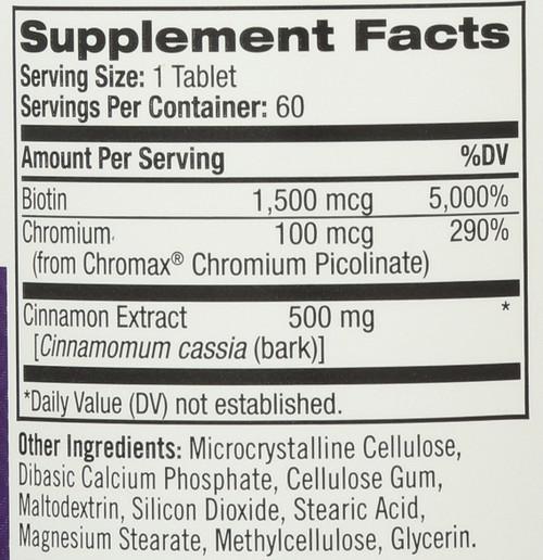 Cinnamon - Biotin - Chromium  60 Tablets