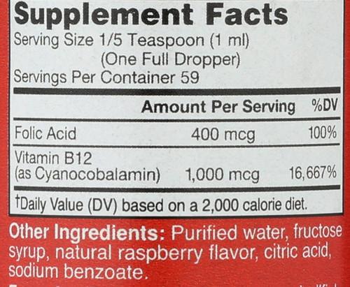 B-12 Blast With Folic Acid Natural Raspberry Flavor, Vitamin B-12 & Folic Acid, Supports Energy Production 2 Fl oz 59 Ml