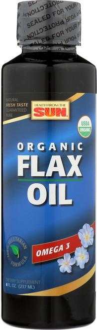 Flax Oil, Cold Pressed Organic Natural 8 Fl oz 237mL