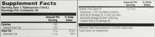 Flax Oil, Cold Pressed Organic Natural 16 Fl oz 473mL