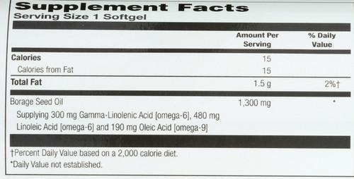 Borage Oil, Cold Pressed 30 Softgels 1300mg