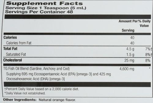 PFO Pure Fish Oil, Triglyceride Form With Orange 8 Fl oz 236mL