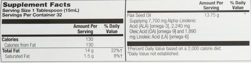 Flax Oil, Classic, Cold Pressed Natural 16 Fl oz 473mL