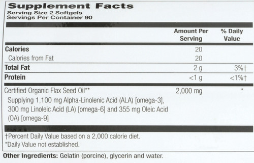 Flax Oil, Cold Pressed 180 Softgels 1000mg