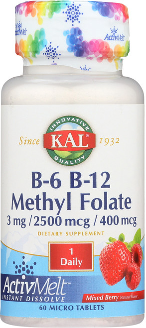 B-6 B-12 Methyl Folate Activmelt Mixed Berry 60 Micro Tablets