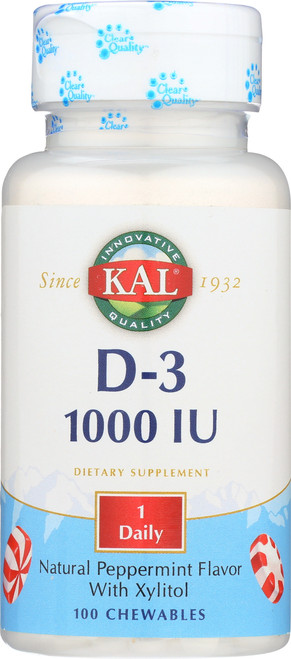 D-3 1000 IU Peppermint 100 Chewables