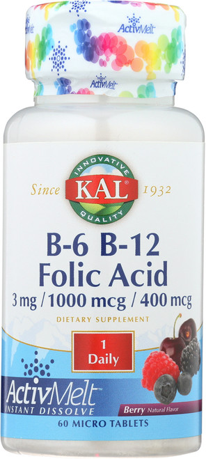 B-6 B-12 Folic Acid Activmelt Berry 60 Tablet