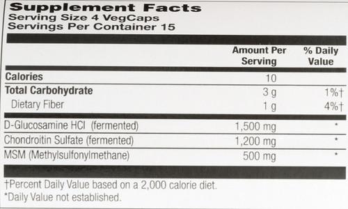 100% Vegetarian Glucosamine Chondroitin MSM 60 Vegetarian Capsules