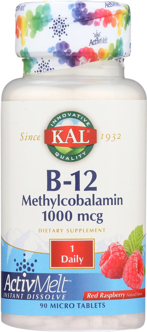 B-12 Methylcobalamin Activmelt Raspberry 90 Micro Tablets