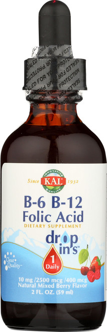 B-6 B-12 Folic Acid Dropins Mixed Berry 2 Fl oz 59mL