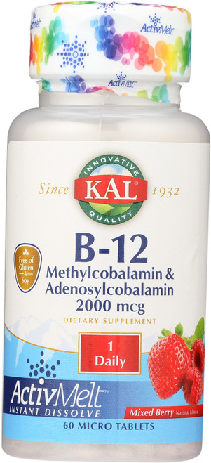 B-12 Methylcobalamin Adenosyl Activmelt Mixed Berry 60 Tablet