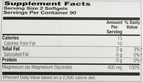 Magnesium Glycinate 400mg 180 Softgels