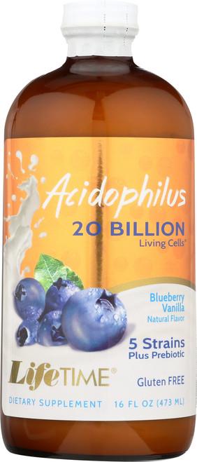 Acidophilus w/FOS Blueberry Liquid Acidophilus With Bulgaricus & Bifidus 16 Fl oz 473mL