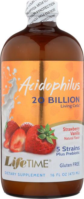 Acidophilus w/FOS Strawberry Liquid Acidophilus With Bulgaricus & Bifidus 16 Fl oz 473mL