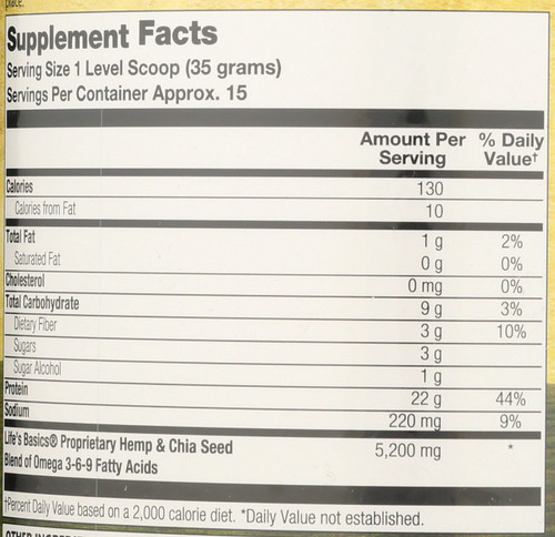 Life's Basics Plant Protein Mix Vanilla 18.52oz 1.16 Lb 525 G