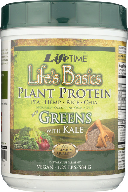 Life's Basics Greens Protein Plus Green With Kale 1.29 Lb 584g
