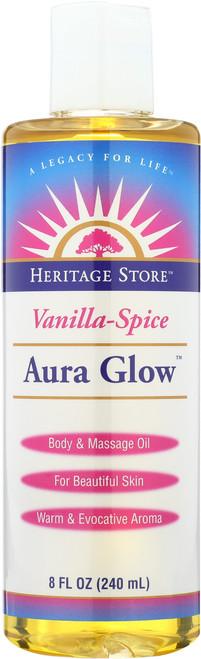 Aura Glow Vanilla-Spice Body And Massage Oil 8 Fl oz 240mL