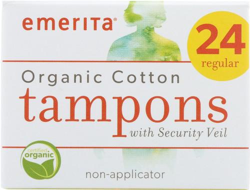 Organic Cotton Regular Non-Applicator Tampons 24 Regular