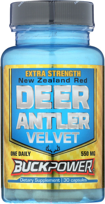 Deer Antler Velvet, Extra Strength Buckpower® 550mg 30 Capsules