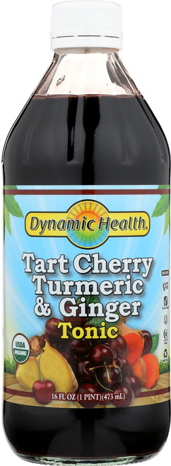 Tart Cherry, Turmeric & Ginger Tonic Certified Organic Glass 16 Fl oz 1 Pint 473mL