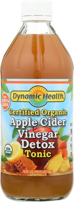 Apple Cider Vinegar Detox Tonic Certified Organic With Honey & Lemon 16 Fl oz 473mL