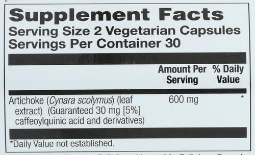 Artichoke Leaf Extract 300mg 60 Vegetarian Capsules