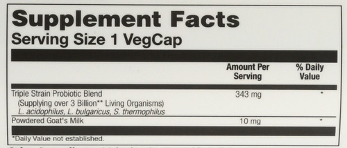 Acidophilus 3 Strain Probiotic & Prebiotic Goat's Milk 50 Vegetarian Capsules